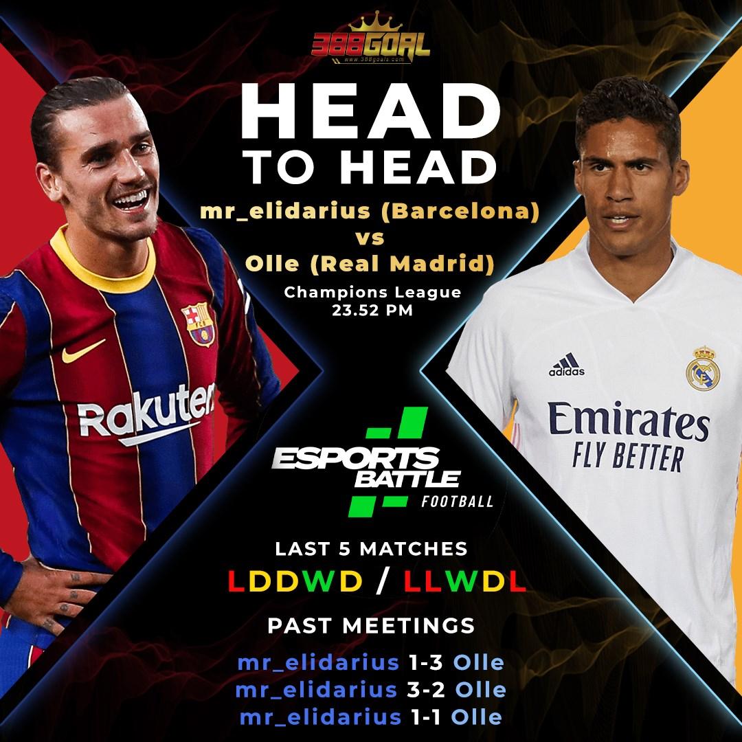 H2H Battle : ปิดท้ายคู่เด็ดศึก Esport Battle Football ด้วยคู่เวลา 23.52 น. ระหว่าง mr_elidarius ที่เลือกใช้บาร์เซโลน่า