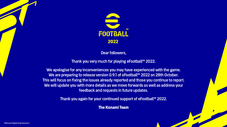 Konami ประกาศอัปเดต eFootball 2022 แพต 0.9.1 วันที่ 28 ตุลาคม